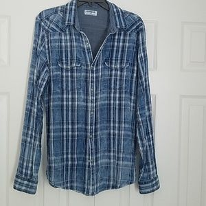 Express blue plaid button down shirt